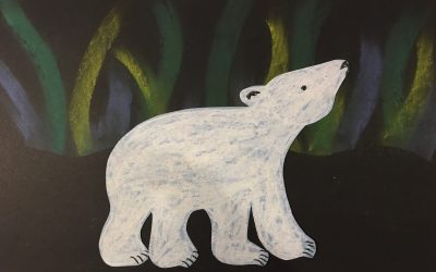 Polar Bears in Northern Lights – Art for Kids, K-5